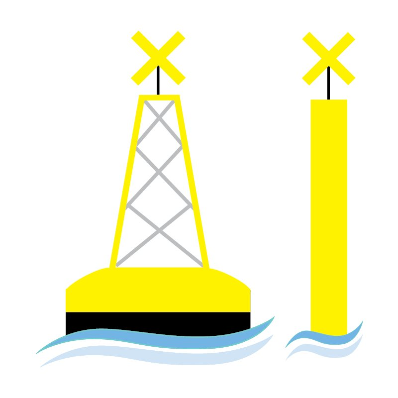 Buoys indicate pipelines or areas used for special purpos