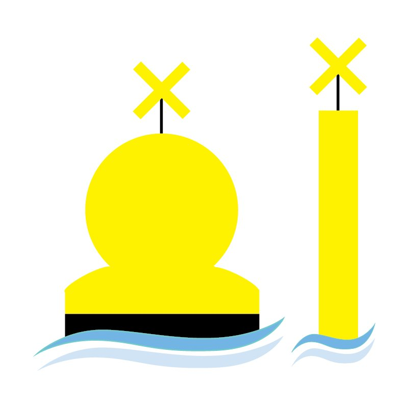 Buoys indicate pipelines or areas used for special purposes.